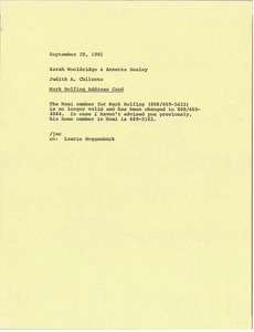 Thumbnail of Memorandum from Judith A. Chilcote to Sarah Wooldridge and Annette Ensley