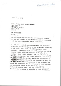 Thumbnail of Letter from Mark H. McCormack to World Productions Establishment