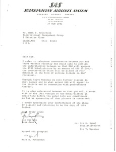 Thumbnail of Letter from Jan Carlzon to Mark H. McCormack