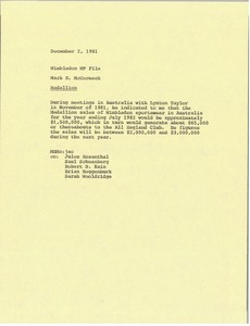 Thumbnail of Memorandum from Mark H. McCormack to Wimbledon file