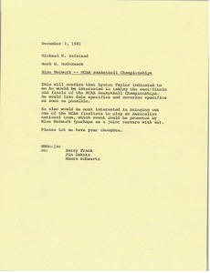 Thumbnail of Memorandum from Mark H. McCormack to Michael W. Halstead