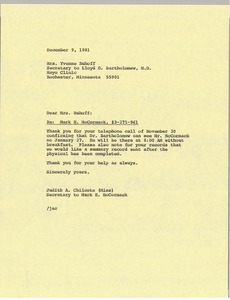 Thumbnail of Letter from Judith A. Chilcote to Yvonne Ruhoff