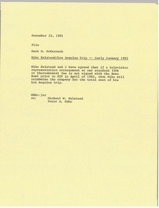 Thumbnail of Memorandum from Mark H. McCormack to Mike Halstead Los Angeles trip file