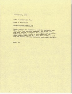 Thumbnail of Memorandum from Mark H. McCormack to take to Australia file