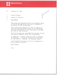 Thumbnail of Memorandum from Judith A. Chilcote to Annette Ensley