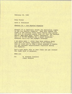 Thumbnail of Memorandum from Mark H. McCormack to Doug Birnie