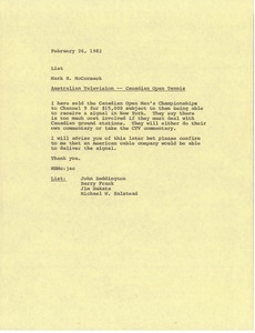 Thumbnail of Memorandum from Mark H. McCormack concerning Australian television