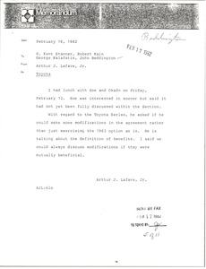 Thumbnail of Memorandum from Arthur Jay Lafave Jr. to H. Kent Stanner