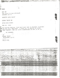 Thumbnail of Telex prinotut from Mark H. McCormack to Rick Avory