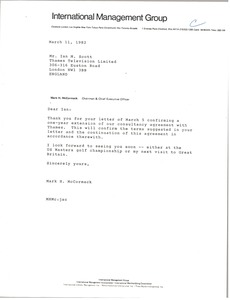 Thumbnail of Letter from Mark H. McCormack to Ian M. Scott
