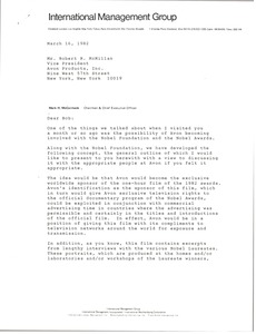 Thumbnail of Letter from Mark H. McCormack to Robert R. McMillan