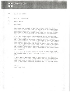 Thumbnail of Memorandum from Peter Worth to Mark H. McCormack