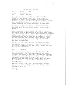 Thumbnail of Fax from Mark H. McCormack to Kondo and Matsuki
