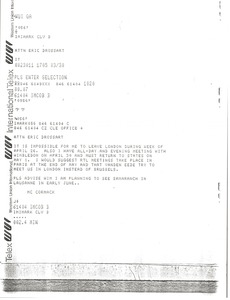 Thumbnail of Telex prinotut from Mark H. McCormack to Eric Drossart