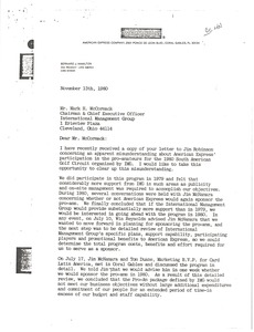 Thumbnail of Letter from B. J. Hamilton to Mark H. McCormack