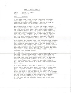 Thumbnail of Fax from Mark H. McCormack to Tokyo office