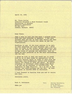 Thumbnail of Letter from Mark H. McCormack to Vince Dooley