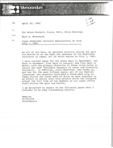 Thumbnail of Memorandum from Mark H. McCormack to Brian Burnett, R. A. A. Holt, Chris             Gorringe