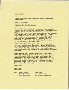 Thumbnail of Memorandum from Mark H. McCormack to Jules Rosenthal, Jay Michaels, Arthur             Rosenblum and Howard Katz