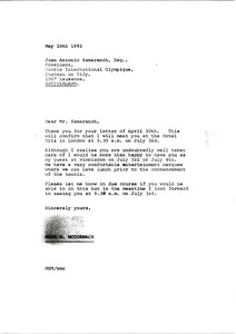 Thumbnail of Letter from Mark H. McCormack to Juan Anotnio Samaranch