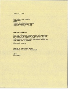 Thumbnail of Letter from Judy A. Chilcote to Robert J. Wussler
