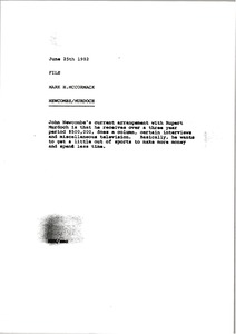 Thumbnail of Memorandum from Mark H. McCormack to Newcombe Murdoch file