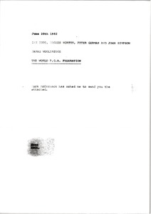 Thumbnail of Memorandum from Sarah Wooldridge to Ian Todd, Hughes Norton, Peter German and             John Simpson
