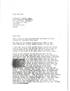 Thumbnail of Letter from Mark H. McCormack to William P. Benotn