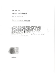 Thumbnail of Memorandum from Mark H. McCormack to Ian Todd to David Hill