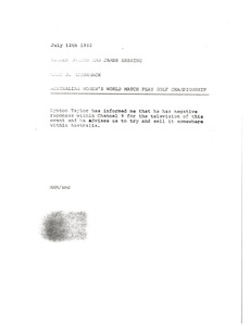 Thumbnail of Memorandum from Mark H. McCormack to Hughes Norton and James Erskine