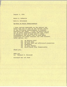 Thumbnail of Memorandum from Mark H. McCormack to Maura A. Schwartz