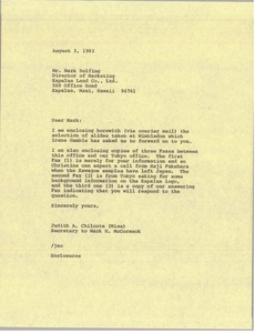 Thumbnail of Letter from Judith A. Chilcote to Mark Rolfing