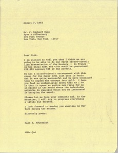 Thumbnail of Letter from Mark H. McCormack to J. Richard Ryan