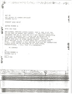 Thumbnail of Telex prinotut from Mark H. McCormack to Ian Todd