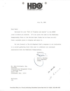 Thumbnail of Letter from Seth G. Abraham to Mark H. McCormack