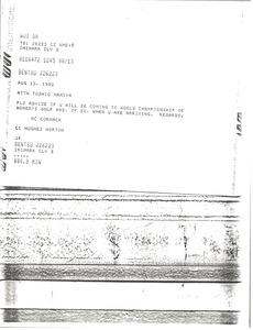 Thumbnail of Telex prinotut from Mark H. McCormack to Toshio Mamiya