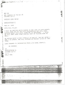 Thumbnail of Telex prinotut from Mark H. McCormack to Phil Pilley