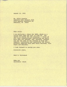 Thumbnail of Letter from Mark H. McCormack to Billy Stearns