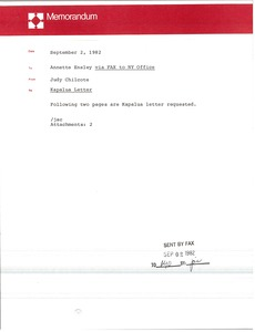 Thumbnail of Memorandum from Judy A. Chilcote to Annette Ensley