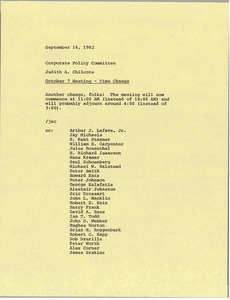 Thumbnail of Memorandum from Judy A. Chilcote to corporate policy committee