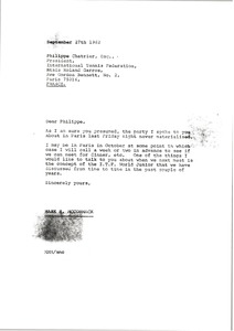 Thumbnail of Letter from Mark H. McCormack to Philippe Chatrier