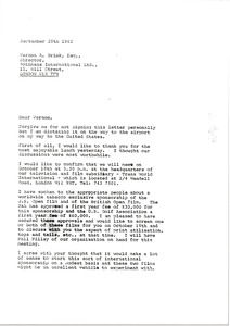 Thumbnail of Letter from Mark H. McCormack to Vernon A. Brink