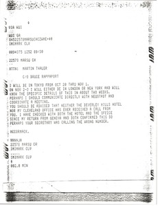Thumbnail of Telex from Mark H. McCormack to Martin Thaler