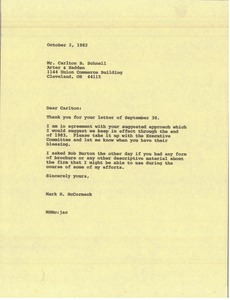 Thumbnail of Letter from Mark H. McCormack to Carlton B. Schnell