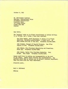 Thumbnail of Letter from Mark H. McCormack to Christopher Lewinotn