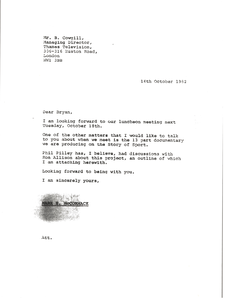 Letter from Mark H. McCormack to Bryan Cowgill