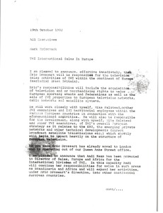 Thumbnail of Memorandum from Mark H. McCormack to all executives