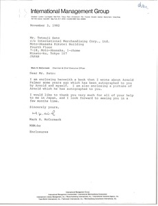 Thumbnail of Letter from Mark H. McCormack to Tetsuji Sato