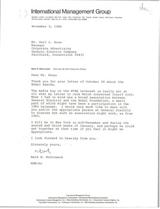 Thumbnail of Letter from Mark H. McCormack to Karl L. Koss