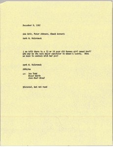 Thumbnail of Memorandum from Mark H. McCormack to Bob Kain, Peter Johnson and Chuck Bennett